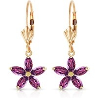 Amethyst Flower Star Drop Earrings 2.8 ctw in 9ct Gold - Flower Gifts