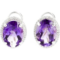 Amethyst French Clip Halo Earrings 10.56 ctw in 9ct White Gold