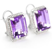 Amethyst French Clip Halo Earrings 11.6 ctw in 9ct White Gold