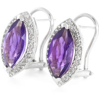 Amethyst French Clip Halo Earrings 3.6 ctw in 9ct White Gold