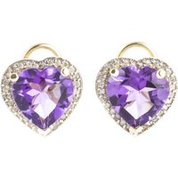 Amethyst French Clip Halo Earrings 6.48 ctw in 9ct Gold