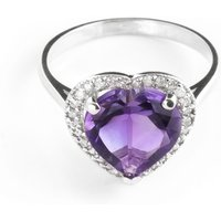 Amethyst Halo Ring 3.24 ctw in 18ct White Gold