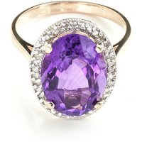 Amethyst Halo Ring 5.28 ctw in 9ct Rose Gold