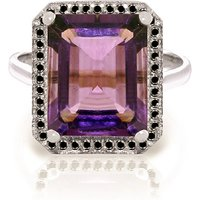 Amethyst Halo Ring 5.8 ctw in 9ct White Gold