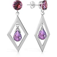Amethyst Kite Drop Earrings 2.4 ctw in 9ct White Gold - White Gold Gifts