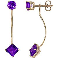 Amethyst Lure Drop Earrings 4.15 ctw in 9ct Gold - Jewellery Gifts
