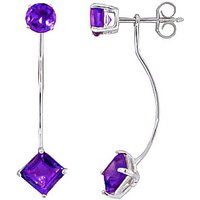 Amethyst Lure Drop Earrings 4.15 ctw in 9ct White Gold - White Gold Gifts