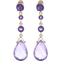Amethyst Pendulum Drop Earrings 13.2 ctw in 9ct Gold - Jewellery Gifts