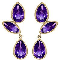 Amethyst Petal Drop Earrings 13 ctw in 9ct Gold - Jewellery Gifts