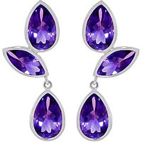 Amethyst Petal Drop Earrings 13 ctw in 9ct White Gold - White Gold Gifts