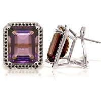Image of Amethyst Stud French Clip Halo Earrings 11.6 ctw in 9ct White Gold