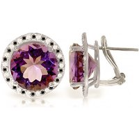Amethyst Stud French Clip Halo Earrings 12.4 ctw in 9ct White Gold