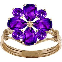 Amethyst Sunflower Cluster Ring 2.43 ctw in 9ct Gold - Fashion Gifts