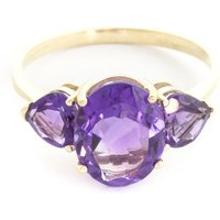 Amethyst Three Stone Ring 4 ctw in 9ct Gold - Fashion Gifts