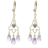 Amethyst Trilogy Drop Earrings 4.83 ctw in 9ct Gold - Jewellery Gifts