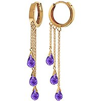 Amethyst Trilogy Droplet Earrings 4.8 ctw in 9ct Gold - Jewellery Gifts