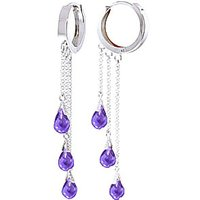 Amethyst Trilogy Droplet Earrings 4.8 ctw in 9ct White Gold - White Gold Gifts