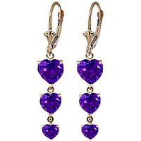 Amethyst Triple Heart Drop Earrings 6 ctw in 9ct Gold - Jewellery Gifts