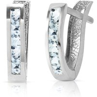 Aquamarine Acute Huggie Earrings 0.85 Ctw In 9ct White Gold