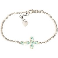 Aquamarine Adjustable Cross Bracelet 1.7 ctw in 9ct White Gold