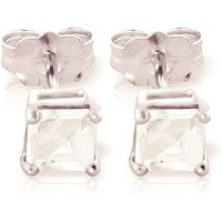 Aquamarine Alexandra Stud Earrings 0.8 ctw in 9ct White Gold - Jewellery Gifts