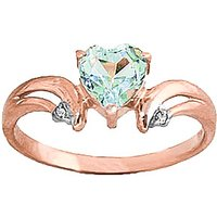 Aquamarine and Diamond Affection Heart Ring in 9ct Rose Gold