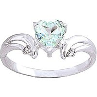 Aquamarine & Diamond Affection Heart Ring in Sterling Silver - Aquamarine Gifts