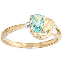 Aquamarine & Diamond Angel Ring in 18ct Gold - Angel Gifts