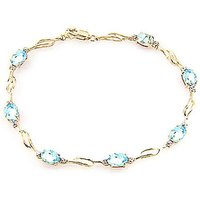 Aquamarine and Diamond Classic Tennis Bracelet in 9ct Gold