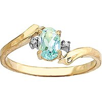 Aquamarine and Diamond Embrace Ring in 9ct Gold