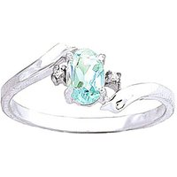 Aquamarine and Diamond Embrace Ring in 9ct White Gold