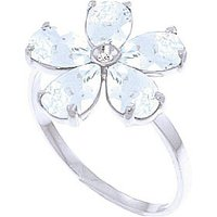 Aquamarine & Diamond Five Petal Ring in Sterling Silver - Aquamarine Gifts