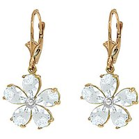 Aquamarine & Diamond Flower Petal Drop Earrings in 9ct Gold - Flower Gifts