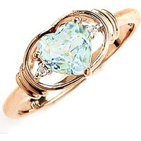 Aquamarine & Diamond Halo Heart Ring in 9ct Gold - Halo Gifts