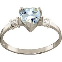 Aquamarine & Diamond Heart Ring in Sterling Silver - Aquamarine Gifts