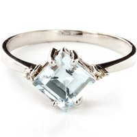 Aquamarine & Diamond Princess Ring in Sterling Silver - Aquamarine Gifts