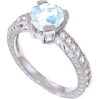 Aquamarine & Diamond Renaissance Ring in 9ct White Gold - Fantasy Gifts