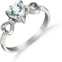 Aquamarine & Diamond Trinity Ring in Sterling Silver - Aquamarine Gifts