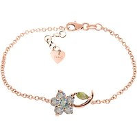 Aquamarine and Peridot Adjustable Flower Petal Bracelet in 9ct Rose Gold