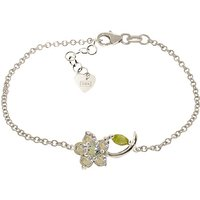 Aquamarine and Peridot Adjustable Flower Petal Bracelet in 9ct White Gold