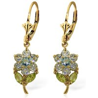 Aquamarine & Peridot Flower Petal Drop Earrings in 9ct Gold - Flower Gifts