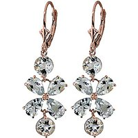 Aquamarine Blossom Drop Earrings 5.32 ctw in 9ct Rose Gold