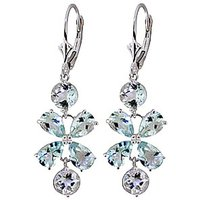 Aquamarine Blossom Drop Earrings 5.32 ctw in 9ct White Gold - White Gold Gifts