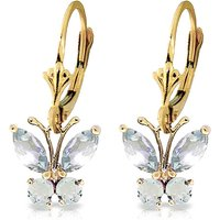 Aquamarine Butterfly Drop Earrings 0.85 ctw in 9ct Gold - Jewellery Gifts