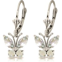 Aquamarine Butterfly Drop Earrings 1.24 ctw in 9ct White Gold - Jewellery Gifts
