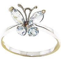 Aquamarine Butterfly Ring 0.6 ctw in 9ct Gold - Fashion Gifts