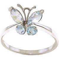 Aquamarine Butterfly Ring 0.6 ctw in 9ct White Gold - Fashion Gifts