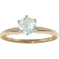 Aquamarine Crown Solitaire Ring 0.65 ct in 9ct Gold - Fashion Gifts