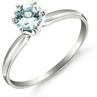 Aquamarine Crown Solitaire Ring 0.65 ct in Sterling Silver - Aquamarine Gifts