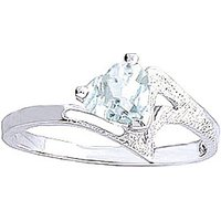 Aquamarine Devotion Ring 0.95 ct in Sterling Silver - Aquamarine Gifts